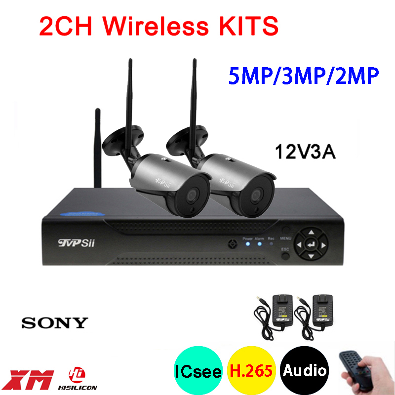 5mp 3mp 2mp Black Color 36pcs Infrared Audio Waterproof H 265 25fps 2CH 2 Channel WIFI