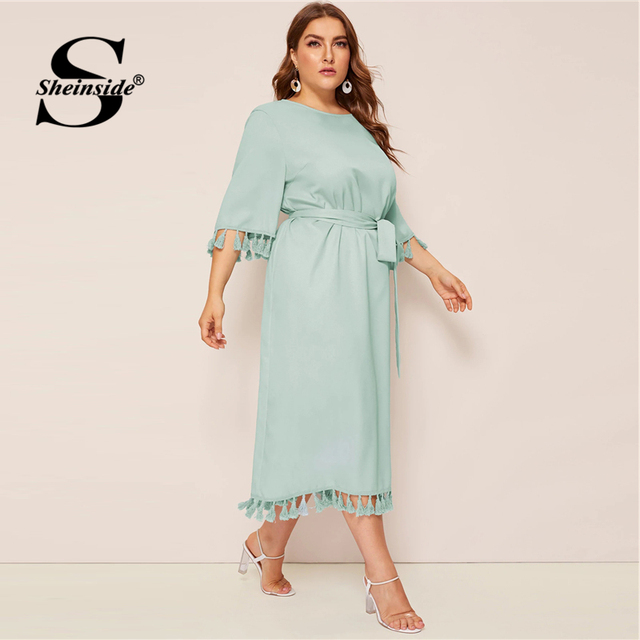 Sheinside Plus Size Elegant Fringe Detail Midi Dress Women 2019 Spring 3/4 Sleeve Belted Dresses Ladies Solid Straight Dress 3