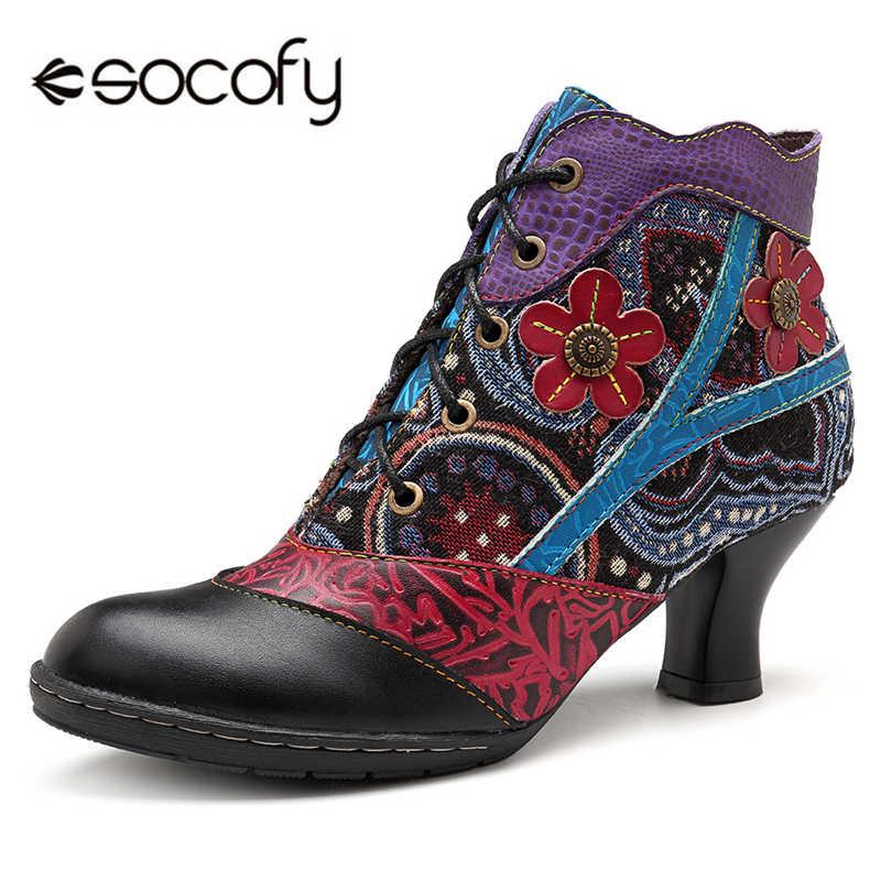 Socofy Retro Bohemian kadın çizmeler hakiki deri ekleme el yapımı topuk çiçek yarım çizmeler kadınlar için ayakkabı kadın bahar 2020