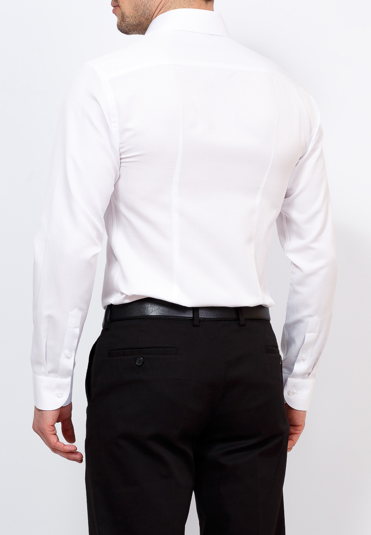 Shirt men's long sleeve GREG 113/139/771/ZV White plus size bird and floral print v neck long sleeve t shirt