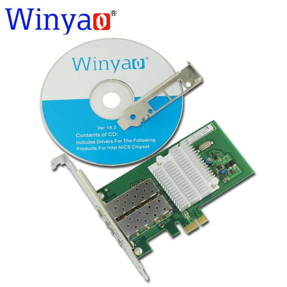 цена на Winyao WY580F2SFP PCI-Express X1 Dual Port 1000Mbps Gigabit Ethernet Lan Fiber Server network card For I340-F2 82580 2-port Nic
