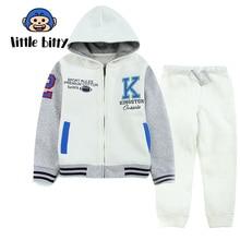 Children Sports Clothing Set Letter Print Boys Clothes Suit Patchwork Boys Clothes Long Sleeve Coat+Pants Cotton Cartoon Kid Set цена 2017