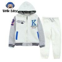 Children Sports Clothing Set Letter Print Boys Clothes Suit Patchwork Boys Clothes Long Sleeve Coat+Pants Cotton Cartoon Kid Set