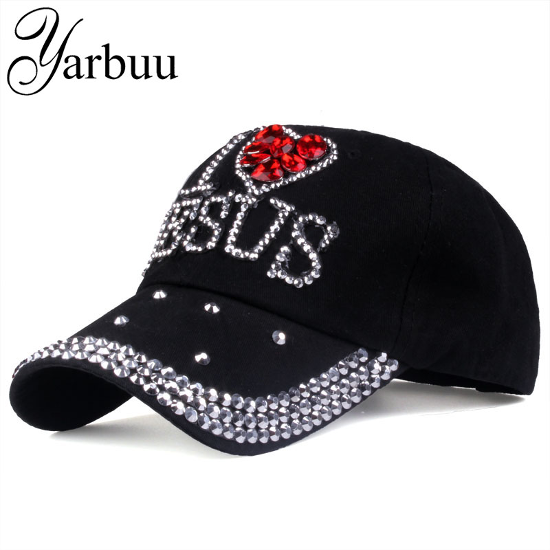 [YARBUU] Baseball caps 2017 fashion high quality hat For women JESUS letter adjustable cotton cap rhinestone Denim cap hat