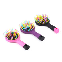 2017 High Quality 1pc Rainbow Volume Anti-static Magic Detangler Hair Curl Straight Massage Comb Brush Styling Tools With Mirror(China)