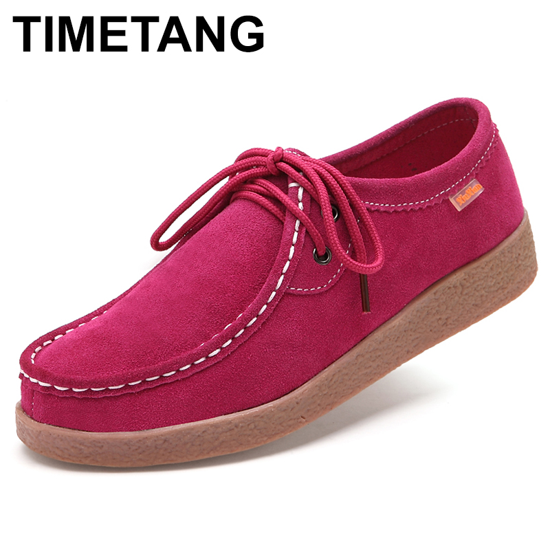 TIMETANG Women Casual Flats Shoes Suede Leather Lace up Navy Blue Red Yellow Rubber Shoes Comfortable Ladies Moccasins C293