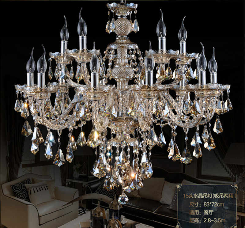 4color Cognac & smoke black Top Luxury 10+5 15 Arms Large Crystal Chandeliers Lustre Home with 100% K9 Crystal chandelier lamp