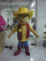 export high quality Popular cowboy mascot cartoon clothing/yellow hat red ma3 jia3 yellow belly red cowboy boots mascot cartoon