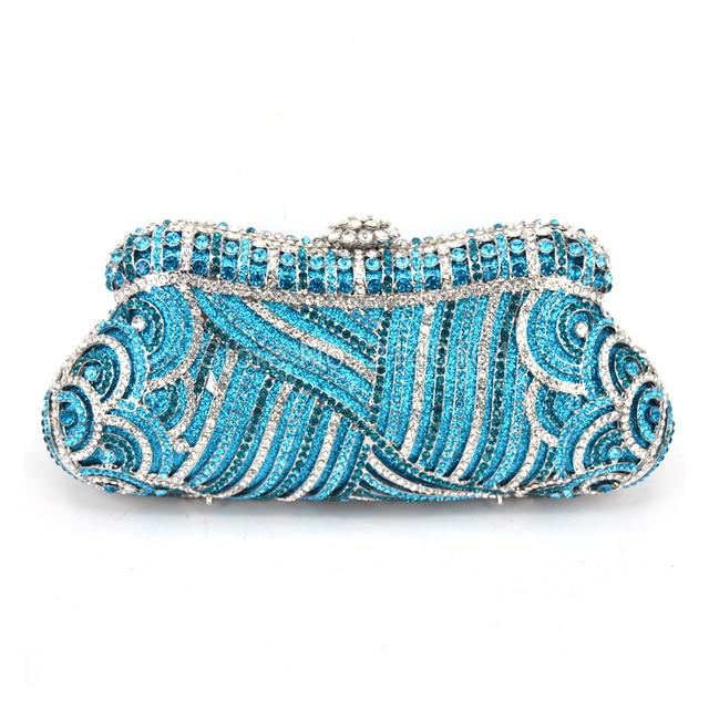 ef6213e430 Contenitore di regalo Delle Signore Borse Da Sera Pochette Lago Blu Di  Cristallo Del Diamante Festa