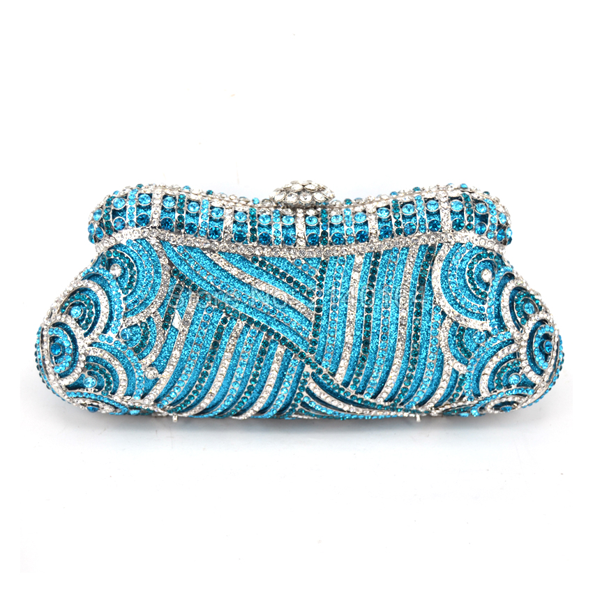 Gift Box Ladies Purses Evening Clutch Bag Lake Blue Crystal Diamond Wedding Party Metal Purse Rhinestone Bridal Handbag Q80