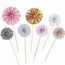 4 cái/lốc Mini Quạt Giấy Bánh Cupcake Topper Toppers Trẻ Em Bữa Tiệc Sinh Nhật Bé Vòi Hoa Sen Bánh Trang Trí Cờ Ủng Hộ Đám Cưới Nguồn Cung Cấp