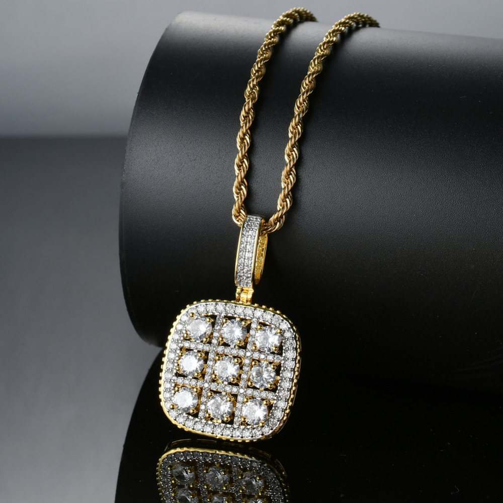 Chain Necklaces Necklaces & Pendants Bling Bling Hip Hop Sudoku Pendant Copper Micro Pave With Cz Stones Necklace Jewelry For Men And Women Cn022 Durable Service