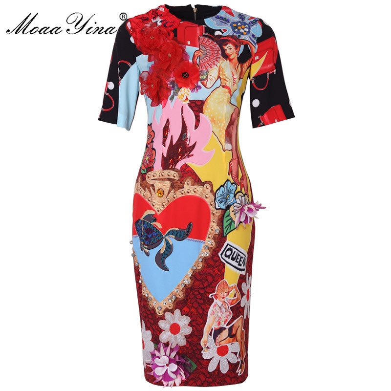 MoaaYina Short sleeve Applique Beading Sequin Slim Elegant Floral Print Dresses Fashion Designer Runway Dress Summer