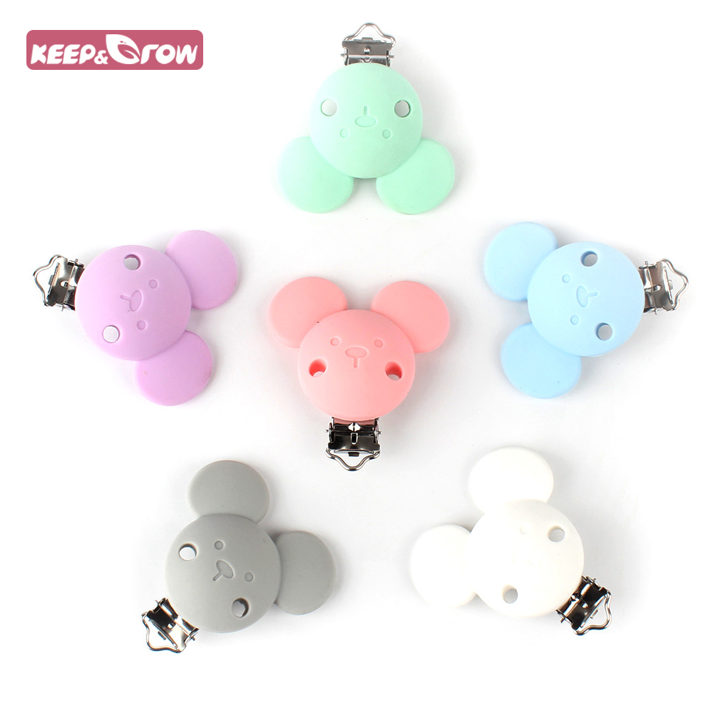 1pcs Micky Silicone Teether Metal Clip Pacifier Silicone Accessories For Rodent DIY Baby Teether Necklace Pendant Clamp