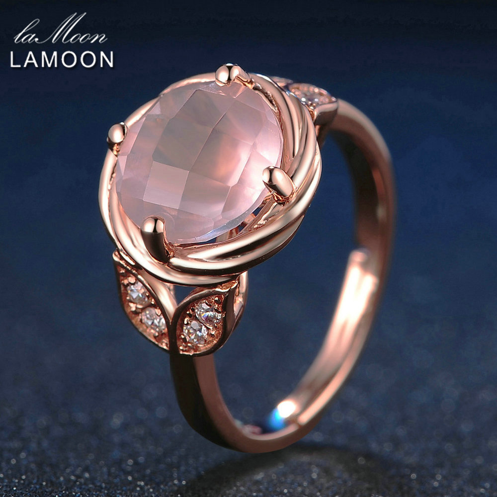 LAMOON Flower 9mm 100% Natural Round Pink Rose Quartz Ring 925 Sterling Silver Jewelry Romantic Wedding Band LMRI016 1pc polished brushed 9mm wide band ring 100