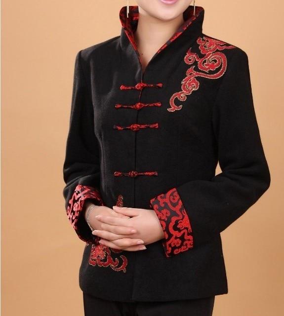 Высокое Качество Черный женщин Кашемировый Пиджак Китайский Традиционный Шерстяные Пальто толстая Верхняя Одежда Цветок Размер Sml XL XXL XXXL T067