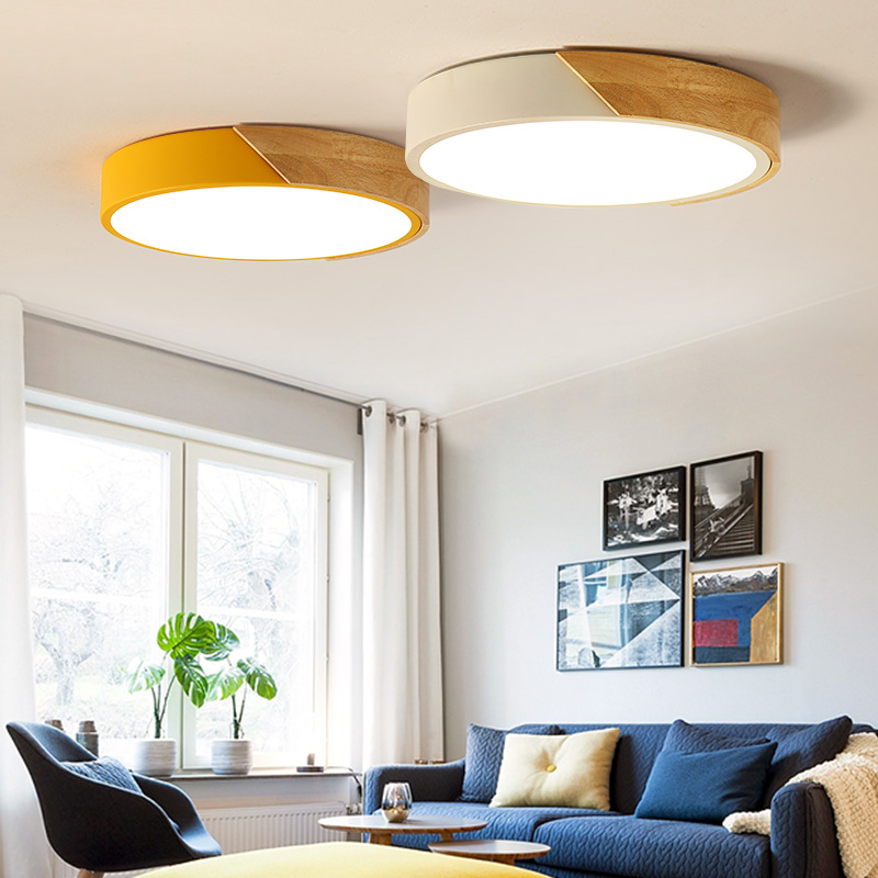 Artpad Japanese Ceiling Lamps Round Acrylic Lamp Shade LED Living Room Ceiling Lights for Kitchen Children Bedroom Fixtures