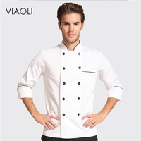 Viaoli 2017 autumn and winter new hotel chef uniforms long sleeved breathable men and women cook overalls shirt double breasted