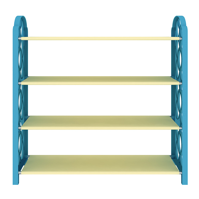 4Tier Blue Shoe Cabinet Shoe Rack  Shoes Storage Plastic Nonwovens Iron Pipe Combination Assembling continental iron shoe multilayer simple stainless steel dust storage shoe iron shoe rack folding shelves