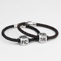 New Fashion Black/Brown Color Genuine Leather Bracelets with Buddhism Beads Braided Bracelet Magnetic Buckle Length 19/20/21cm