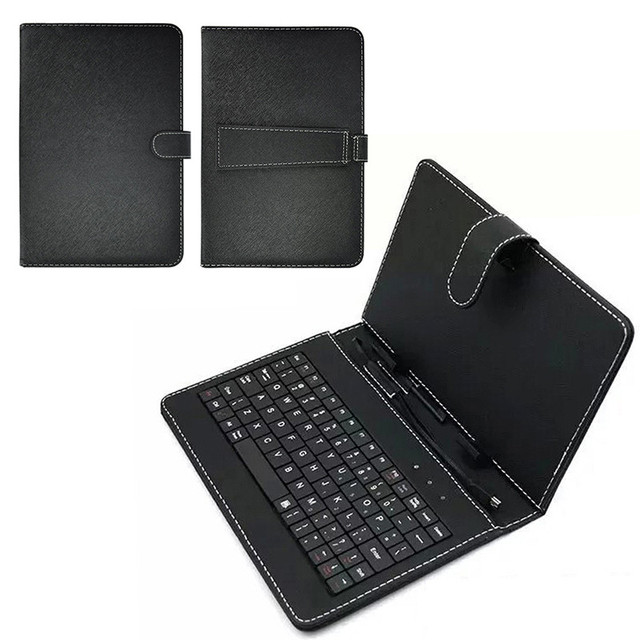 centechia Dustproof Black PU PC leather cover with Stand Case For USB Wired Keyboard
