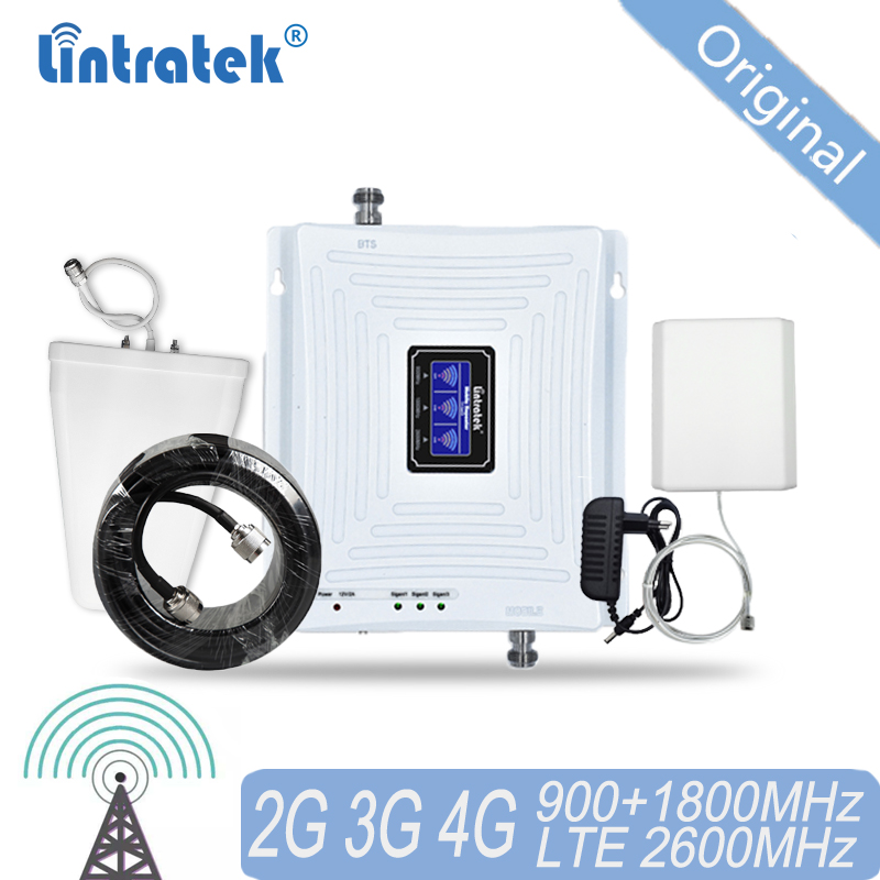 2G 3G 4G Tri Band Cellular Signal Repeater GSM 900 DCS LTE 1800 FDD 2600 Mobile Phone Signal Booster Cellular Amplifier 40