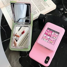 Cute Pink Panther Flamingo Patterned Makeup Mirror Phone Case For