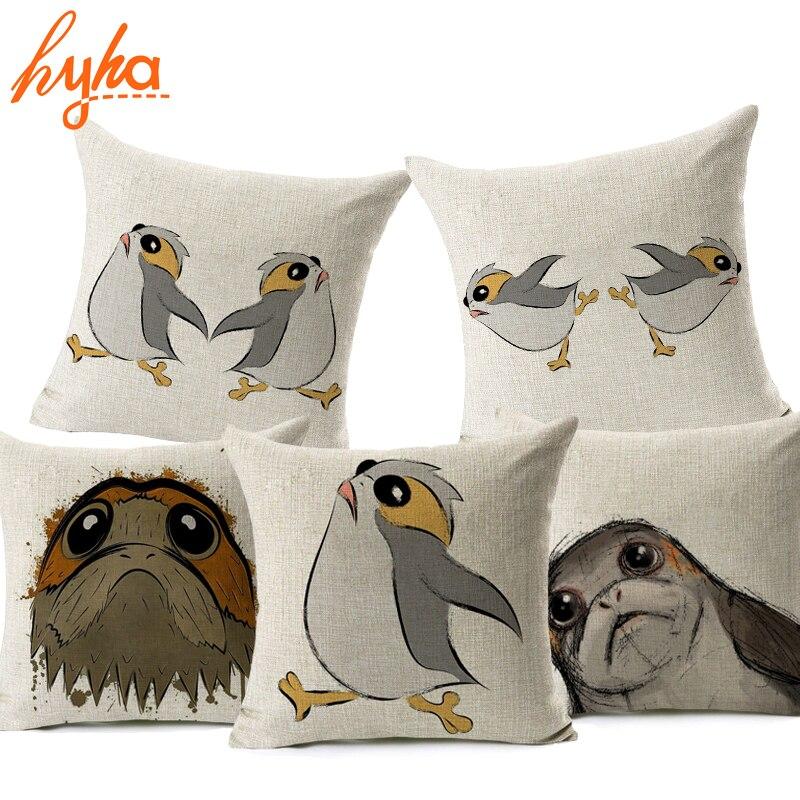 Hyha Porg Cushion Cover 43x43cm Cotton Linen Star Wars Home Decorative Throw Pillow Cover for Sofa Car Bedroom Cushion pillow