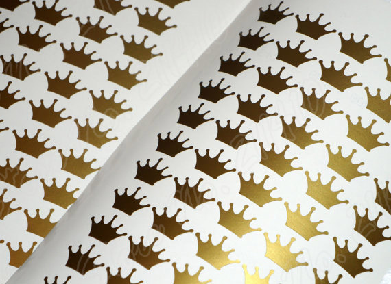48 Crown Stickers Diy Decor Invitation Seals Envelope Seal Wedding Birthday Party Removable Vinyl Wall