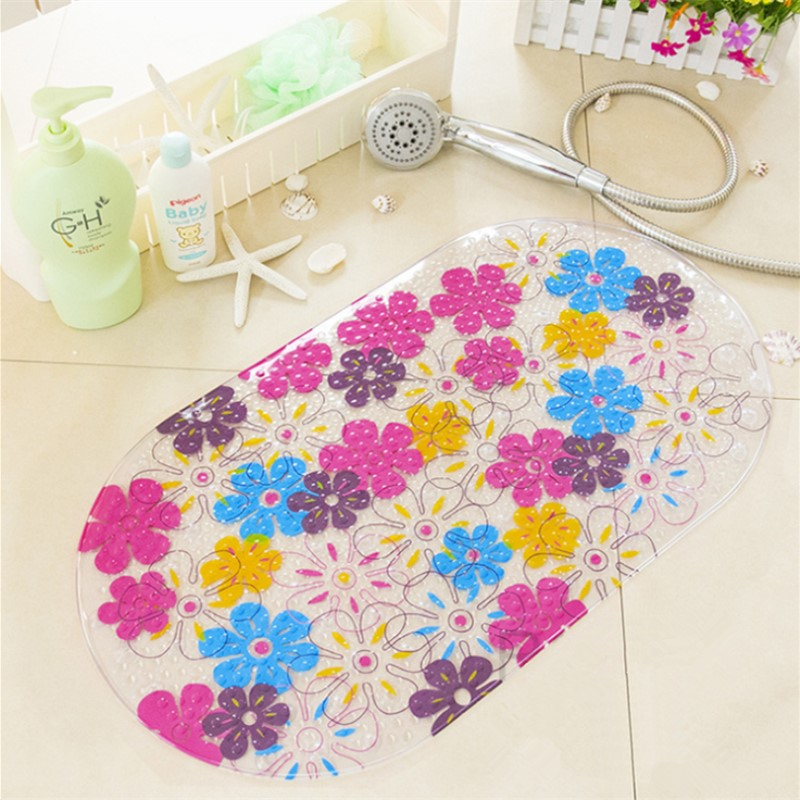 High Quality Colorful Floral Dots PVC Non- Slip Bath Mat Bathtub Mat Shower Mat 69*38cm