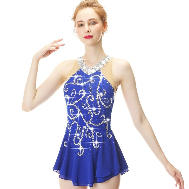 b3636d7fc3f66 US $199.0 |Aliexpress.com : Buy Blue Long Sleeve Crystal Diamond Bow Figure  Skating Sress Skating Skirt lady and girl from Reliable Ballroom suppliers  ...