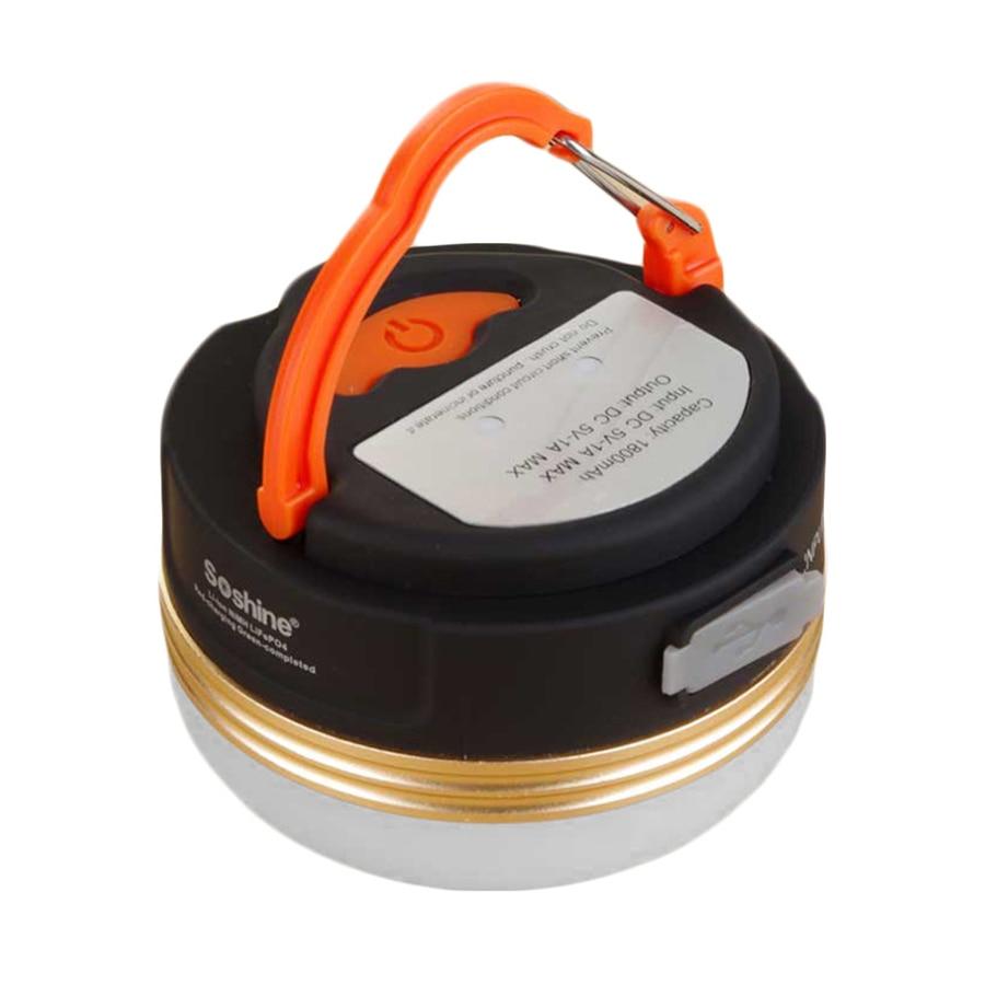 Soshine CB2 1800mAh Outdoor Camping Light Portable Circle Shape Tent Lantern LED Walking Hanging Lamp Black+white+orange