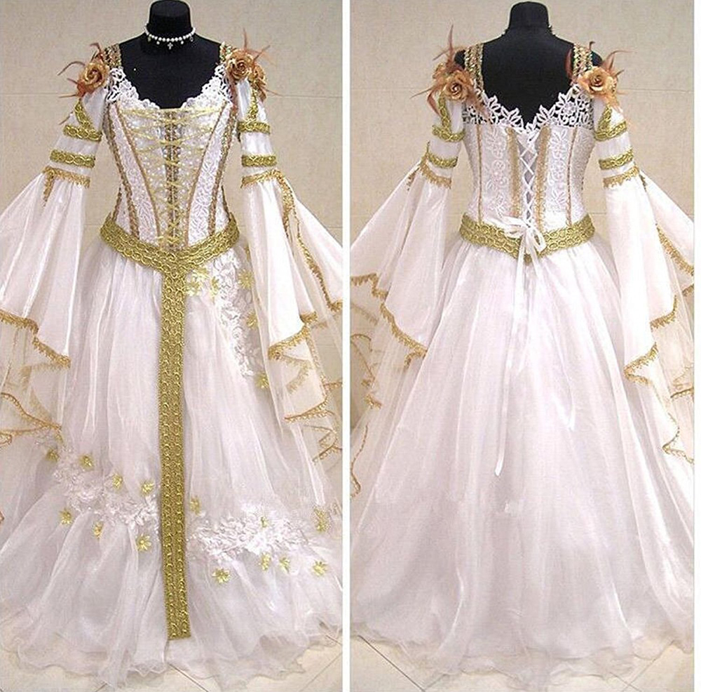 Dubai Muslim White Gold Medieval Wedding Dresses 2018 Long Flare ...