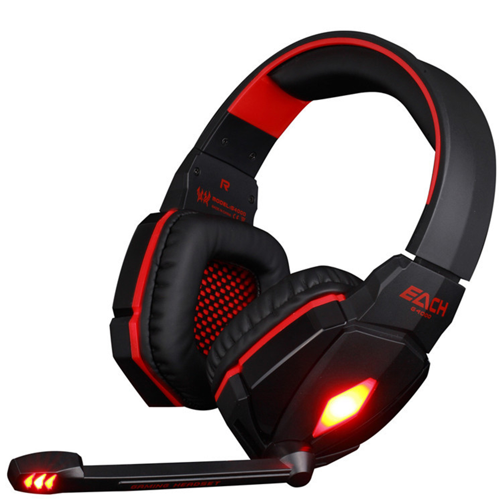 EACH G4000 Pro USB 3.5mm Gaming headphone Stereo Bass Gamer Headset With Microphone LED Lights For PC Computer Laptop Game cd 618 crack led light cool headphone with microphone bass stereo headset earphone wired usb pro for computer gamer headband pc