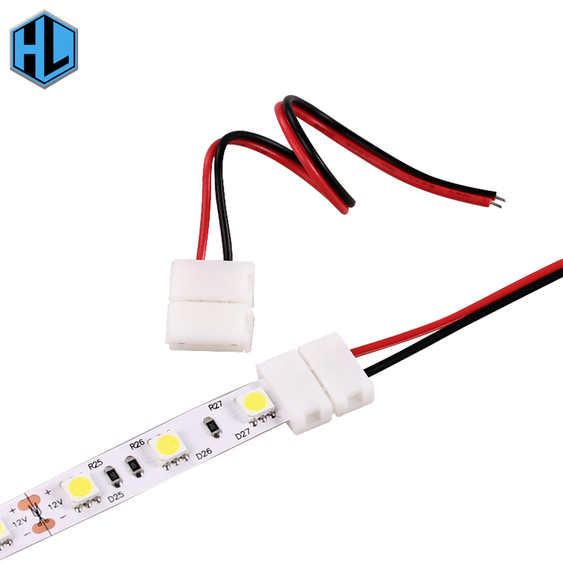 10 pcs LED Strip Connector 2pin 10mm with Wire Free Connect No Need Soldering /Welding Connector For Led Strip 5730/5630/5050 10pcs lot led strip connector terminals for led strip 5050 10mm 2pin connectors for led tape 5050 fast and free soldering