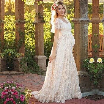 930277b62 Nuevo accesorios de fotografía de maternidad Rosa blanco amarillo Sexy Maxi  vestido elegante embarazo foto maternidad de la mujer vestido de encaje