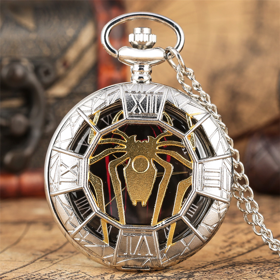Gold Hollow Spider Design Quartz Pocket Watch Silver Half Hunter Pendant Necklace Clock Best Gifts Boys Men Women New 2019