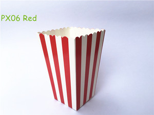 12pcs/pack Red Striped Paper Popcorn Boxes Pop Corn Favor Bags for Candy Food Wedding Decor Birthday Party Supplies(China)