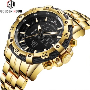 GOLDEN HOUR Men's Military Dual Time Analog & Digital Calendar Stainless Steel Chronograph Multifunction Quartz Watches