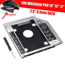 "2,5 ""9,5mm SATA 2nd HDD SSD Disco Duro Bay Adapter para Mac Pro 13"" 15"" 17 ""A1278 A1286 A1297 CD ROM Optical Bay(China)"
