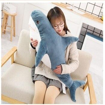 Superventas, juguetes de felpa de tiburón grandes de 50/80/100cm, los grandes muñecos de tiburón blancos, almohada de regalo de cumpleaños
