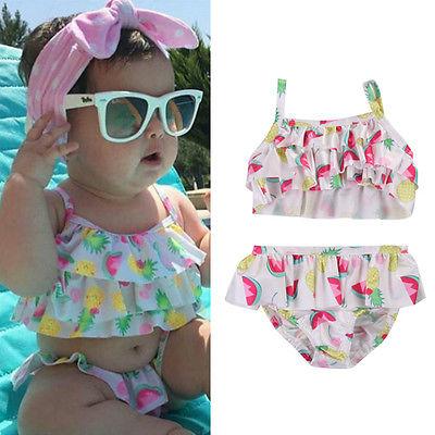 Toddler Kids Baby Girls Tankini Bikini Swimwear Swimsuit Bathing Suit Beach USA