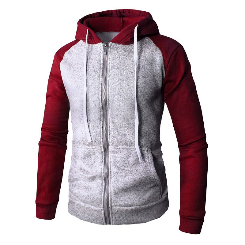 Men's Autumn Winter New Color Matching Zipper Cardigan Long Sleeve Hooded Hoodie Fashion Men Male Casual Tops 5colour