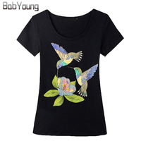 Moda Feminine 2016 Big Size Women Clothes Hummingbird Short Sleeve T Shirt Fashion Slim T Shirts