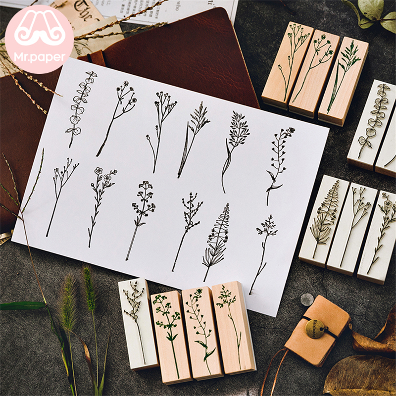 Mr Paper 12 Designs Green Plant Leaves Forest Wooden Rubber Stamp For Scrapbooking Decoration DIY Craft Standard Wooden Stamps