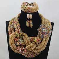African Wedding Crystal Jewelry Set Champagne New Design Nigerian Beads Indian Bridal Necklace Jewelry Set Free Shipping ANJ119