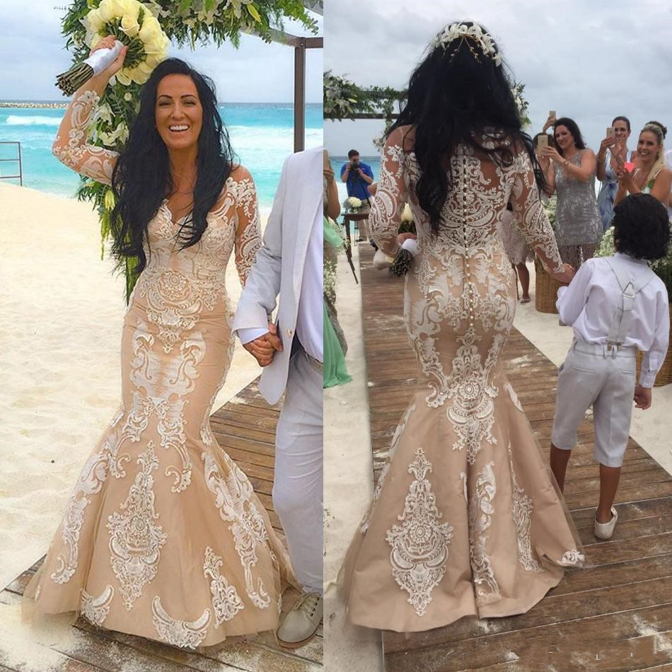 Vestidos de Novia Párrafo Playa Champagne Manga Larga Vestidos de ...