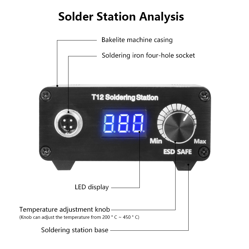 Image 4 - MINI T12 LED Portable soldering station DIY Temperature Controller Digital electronic welding iron DC 19v 24v 72w VersionSoldering Stations   - AliExpress