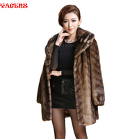 New 2019 Europe style women's outerwear plus size clothing Imitation mink fur top long design marten overcoat leather fur coat