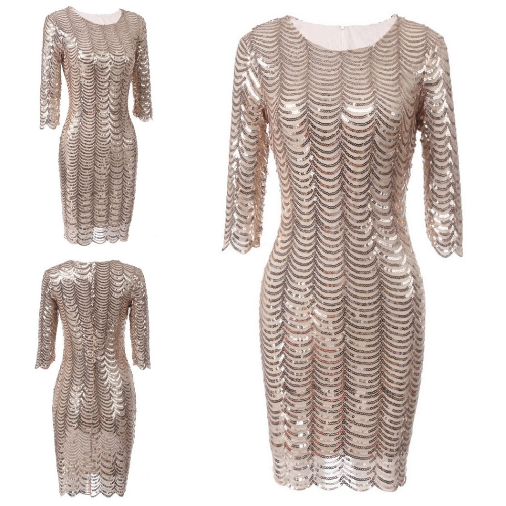 34a3190d262a Golden Sequin Dress Women 3/4 Sleeve Shift Dresses Cut Out Sequin Mesh  Straight Bodycon Club Party Dress Vestidos-in Dresses from Women's Clothing  ...